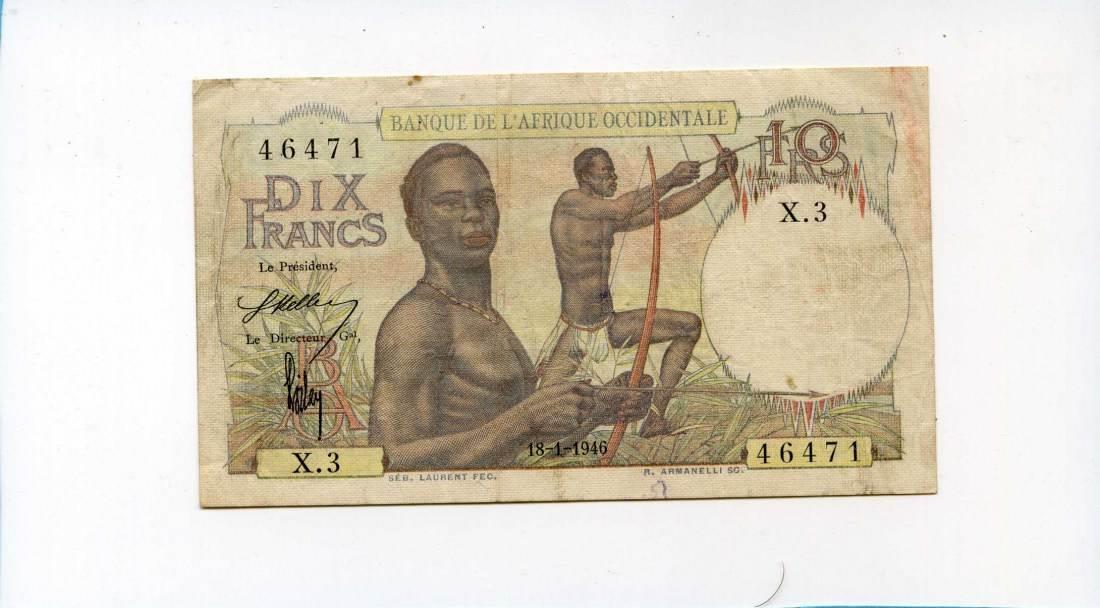 Französisch West-afrika, 10 francs, 1946,