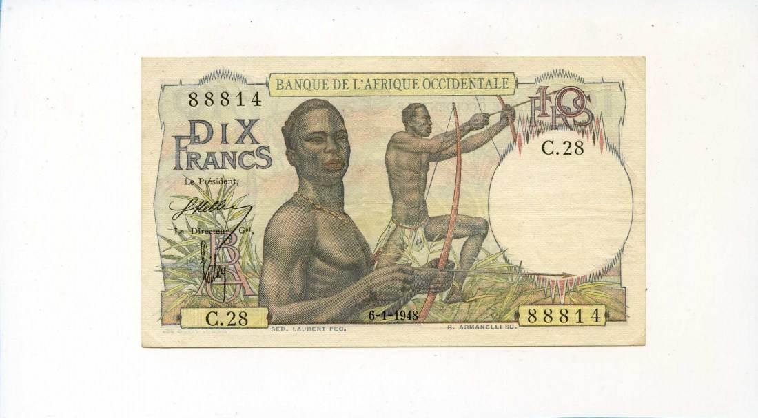 Französisch West-afrika, 10 Francs, 1948,