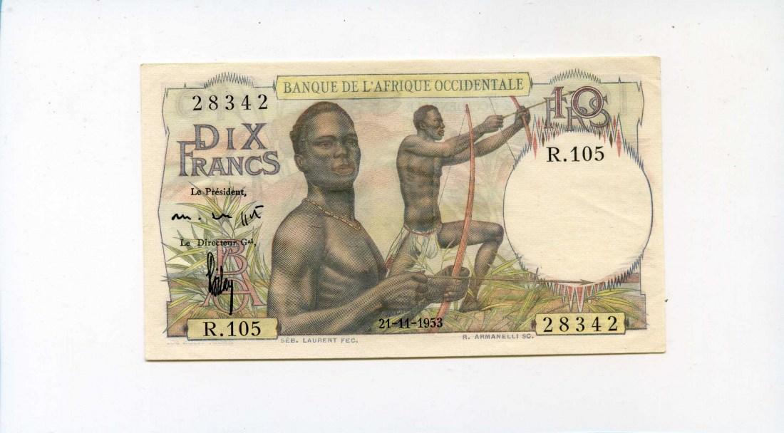 Französisch West-afrika, 10 Francs, 1953,