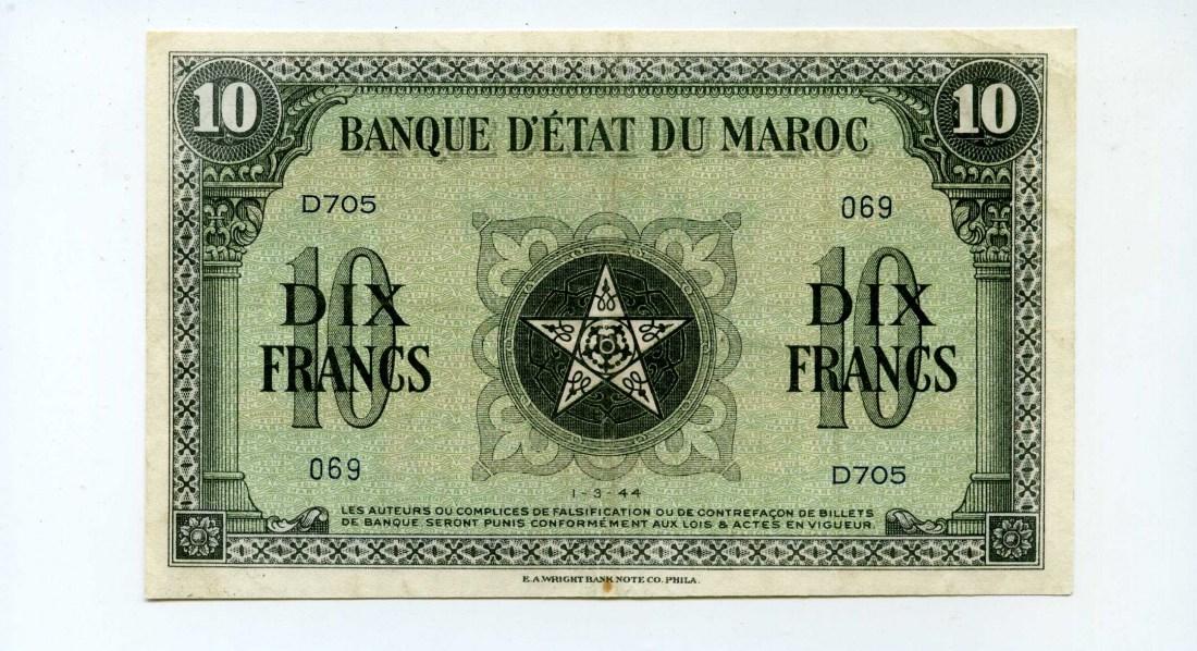 Marokko, 10 Francs, 1944,