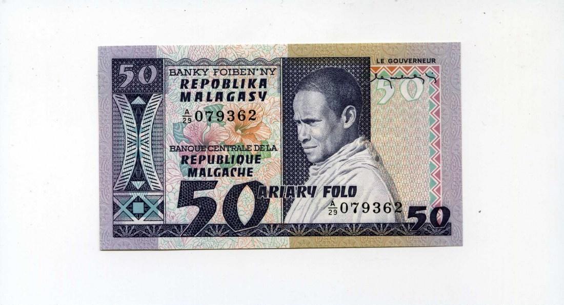 Madagaskar, 50 Francs=10 Ariary, (1974)