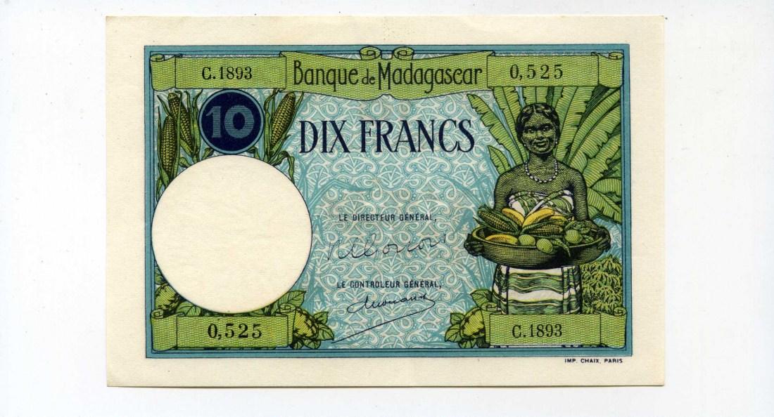 Madagaskar, 10 Francs, (1937-47),