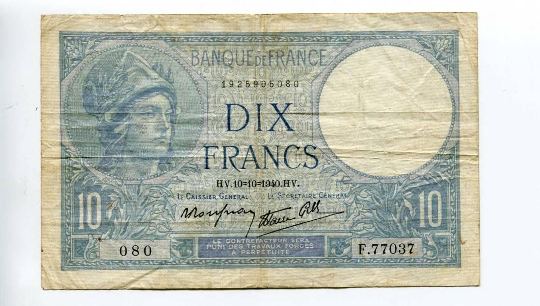 Frankreich, 10 Francs 1940,