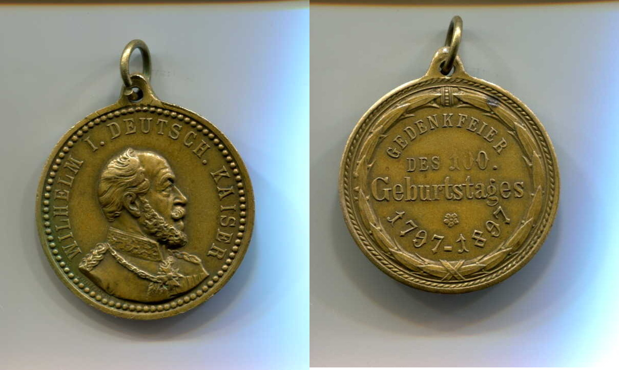100 Geburstag v Wilhelm I , Preussen, Br -medaille, 1897, Bronze
