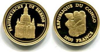 Frauenkirche Dresden, Congo, 1500 Francs, 2004, Gold
