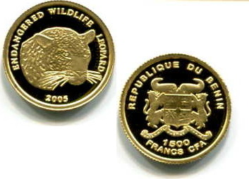 Leopard, Benin, 1500 Cfa Francs, 2005, Gold