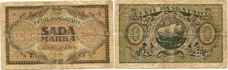 100 Marka 1922 Estland,  stark gebraucht