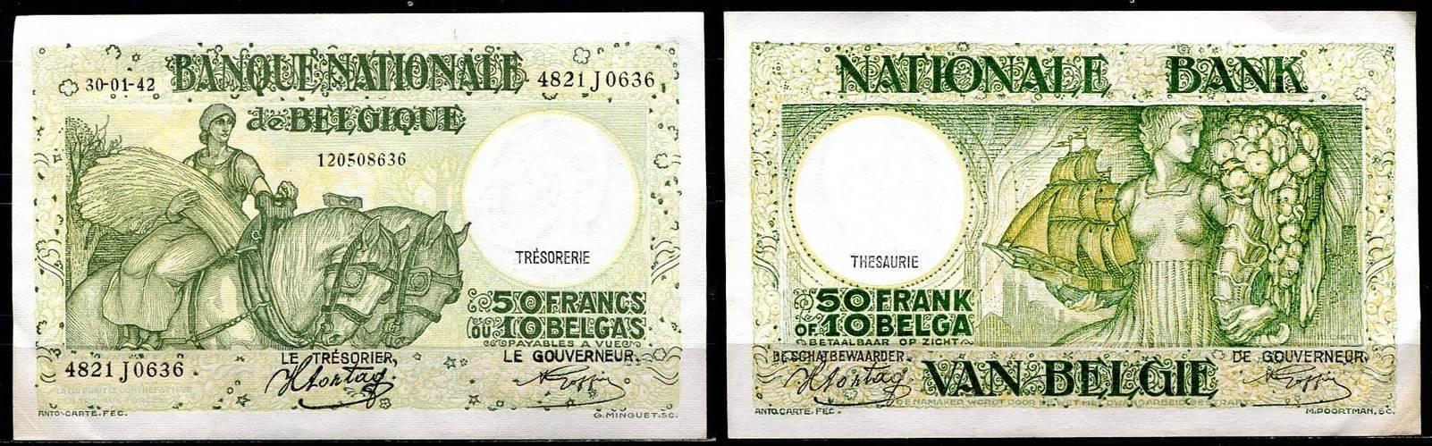 ~ Banque Nationale de Belgique / 10 Belgas Belgien 50 Francs 1942