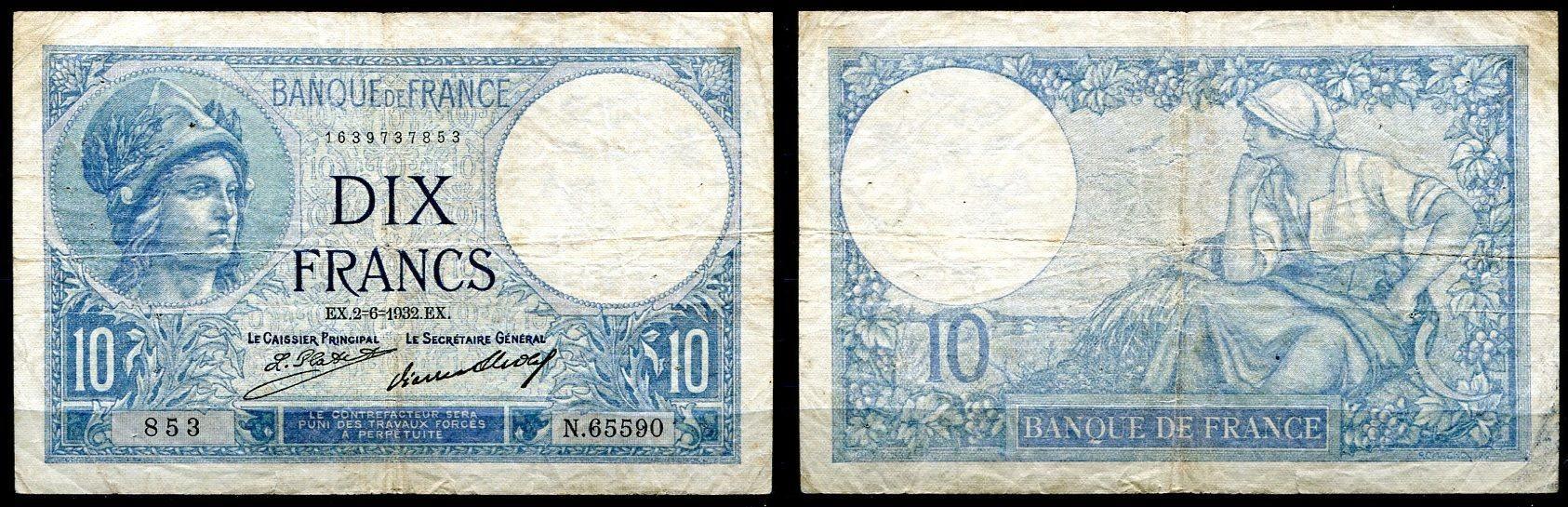 ~ France / dix Francs Frankreich 10 Francs 1932