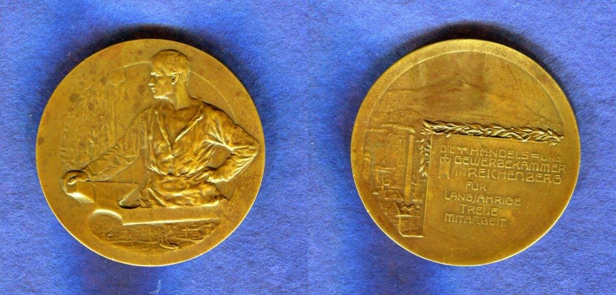 Handels und Gewerbekammer, Reichenberg/böhmen, Br -medaille o J , Bro