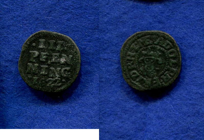 Adolff Friedrich I 1610-1658, Mecklenburg, 3 Pfennig, 1622,