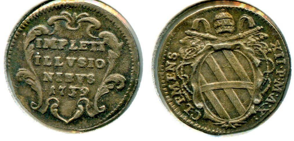 Grosso 1739 Vatikanstaat / Papal States ~ Vatikan / Vatican - Papst Clement XII. 1730-1740 ~ VF+
