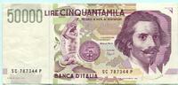 50000 Lire 1992 Italien,  II  54.43 US$ 49,50 EUR  +  7.70 US$ shipping