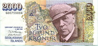 2000 Kronur 1986(1995) Island,  III  29,50 EUR  zzgl. 5,00 EUR Versand