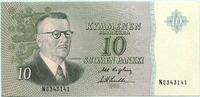 10 Markkaa 1963 Finnland,  Unc  25,00 EUR  zzgl. 5,00 EUR Versand