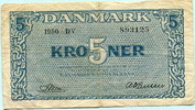 5 Kroner 1950 Dänemark,  VI  19,50 EUR  zzgl. 5,00 EUR Versand