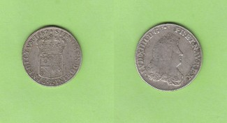 1/2 Ecu carambole 1687 Frankreich Sonnenkö...