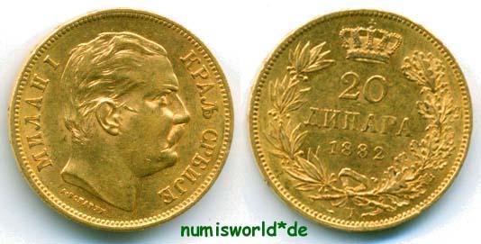 20 Dinara 1882 Serbien Serbien - 20 Dinara - 1882 vz+