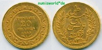 20 Francs 1893 Tunesien Tunesien - 20 Francs - 1893 vz  292,00 EUR  zzgl. 6,00 EUR Versand