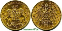 20 Mark 1913  Hamburg - 20 Mark - 1913 f. Stg  339,00 EUR  zzgl. 6,00 EUR Versand