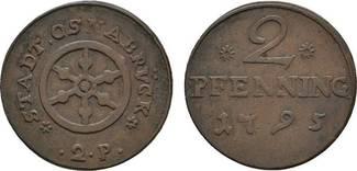 Cu 2 Pfennig 1795 Osnabrück, Stadt  Sehr s...