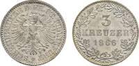 3 Kreuzer 1866 Frankfurt, Stadt  Fast Stempelglanz  30,00 EUR  zzgl. 3,00 EUR Versand