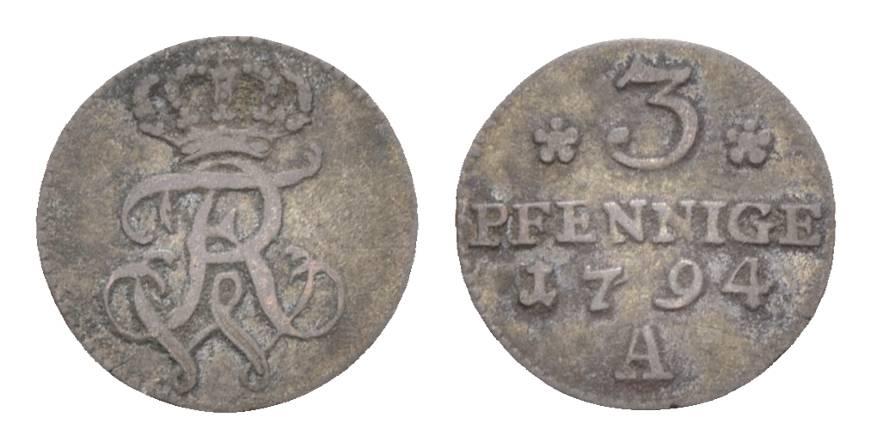 Friedrich Wilhelm Ii 1786-1797 Brandenburg-preußen 3 Pfennig 1794 A,