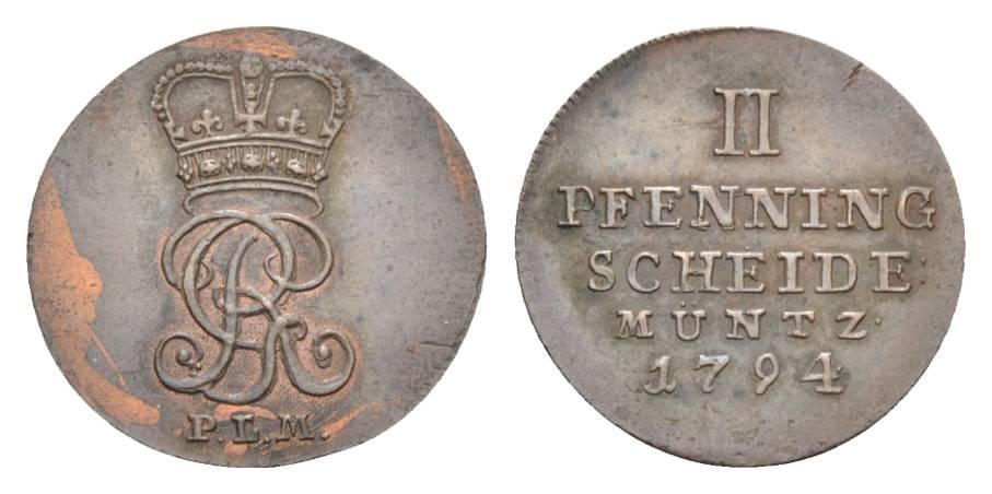 Georg Iii 1760-1820 Braunschweig-calenberg-hannover Cu 2 Pfennig 1794