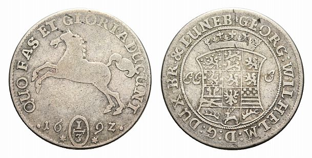 Georg Wilhelm 1665-1705 Braunschweig-lüneburg-celle 1/3 Taler 1692 Jj