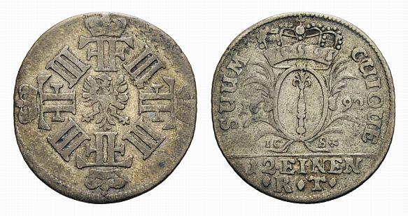Friedrich Iii 1688-1701 Brandenburg-preußen 1/12 Taler 1692 Ics Magde