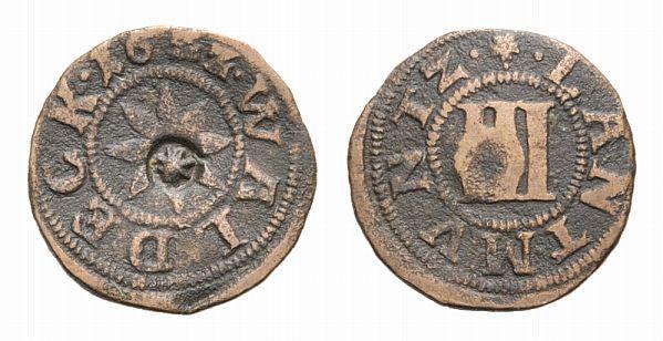 Christian und Wolrad Iv 1597-1638 Waldeck Cu 3 Pfennig 1622 Wildungen