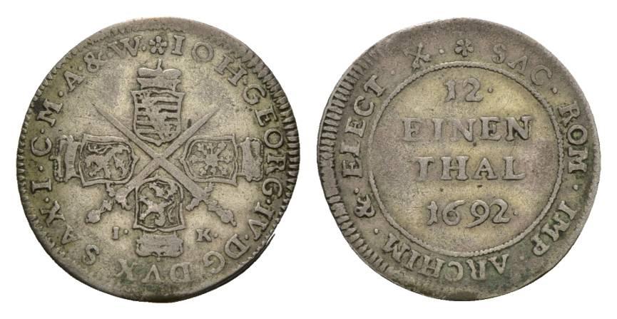 Johann Georg Iv 1691-1694 Sachsen-albertinische Linie 1/12 Taler 1692