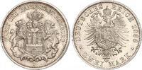 2 Mark 1888  J Hamburg  Winzige Randfehler, fast Stempelglanz  1066.23 US$ 925,00 EUR free shipping