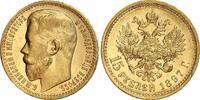 15 Rubel Gold 1897 Russland Nikolaus II. 1894-1917. Kl. Randfehler, fas... 827.23 US$ 740,00 EUR free shipping
