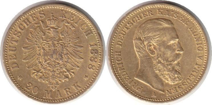 Preussen Friedrich Iii Gold 20 Mark 1888 A Kaiserreich
