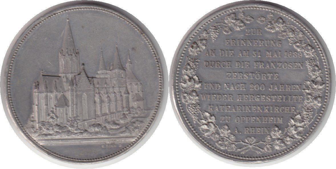 Oppenheim Weißmetallmedaille 1889 Wiederaufbau der zerstörten Kathari