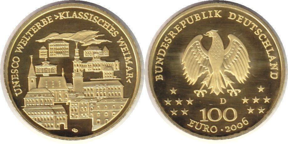 BRD Gold 100 Euro 2006 UNESCO Welterbe Klassisches Weimar 100 Euro GOLD. Mit Box & Zerfifikat. Polierte Platte