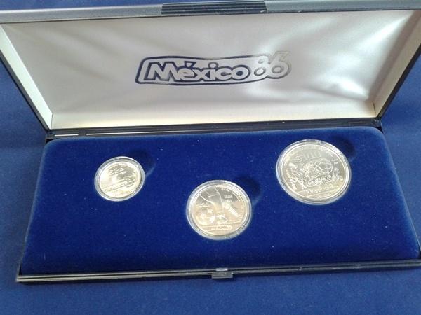 Fußball Wm 1986 Set von 3 Münzen 100, 50 25 Pesos Mexiko 25, 50, 100