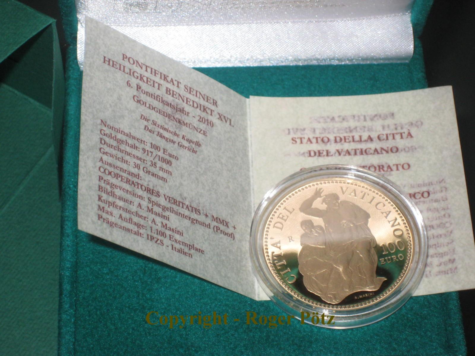 100 Euro Gold 2010 Sixtinische Kapelle Pp 1 100 Ex Vatikan