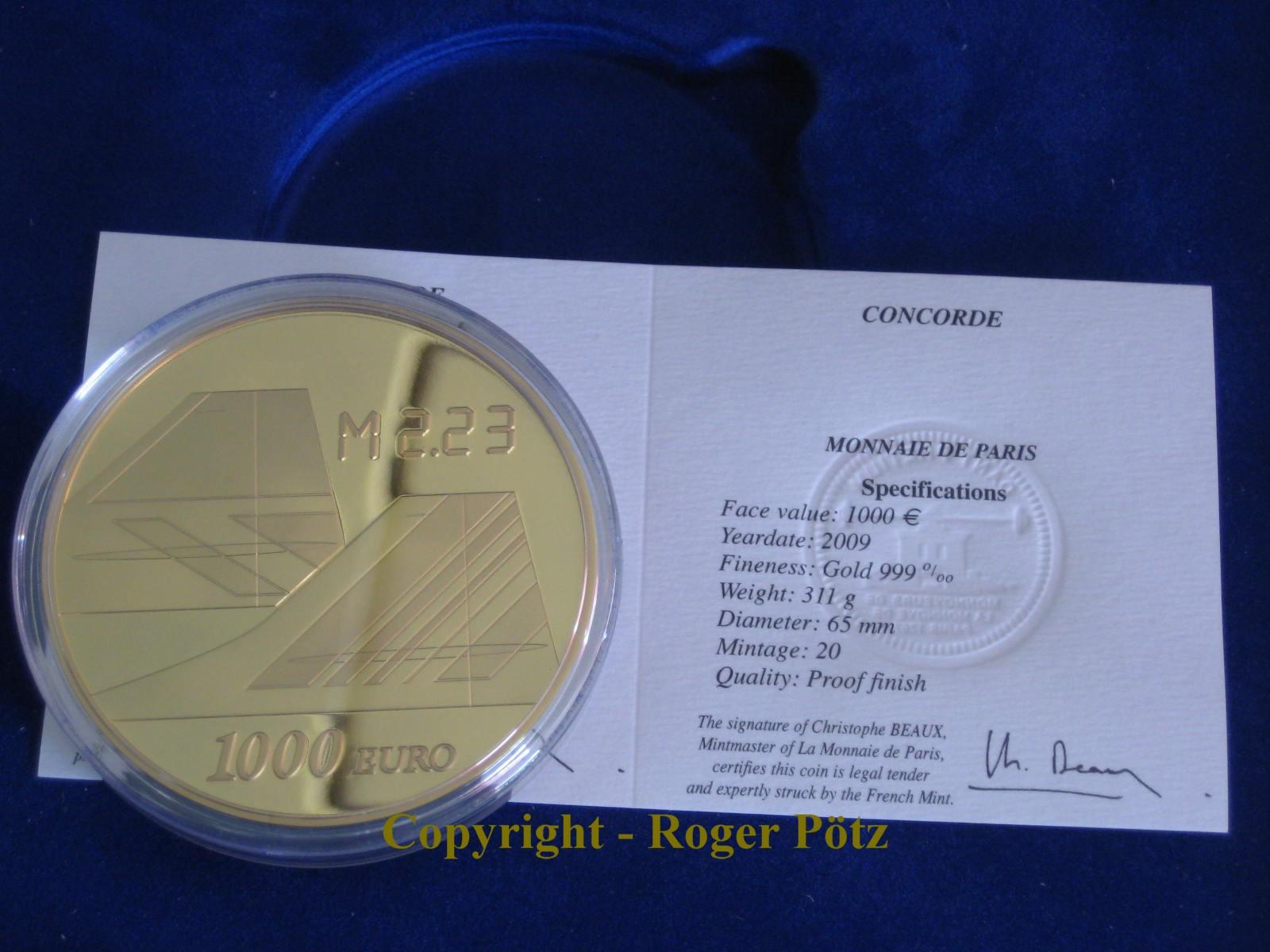 FRANKREICH 1000 Euro 2008 Concorde 10 Unzen Gold PP 2009 PP