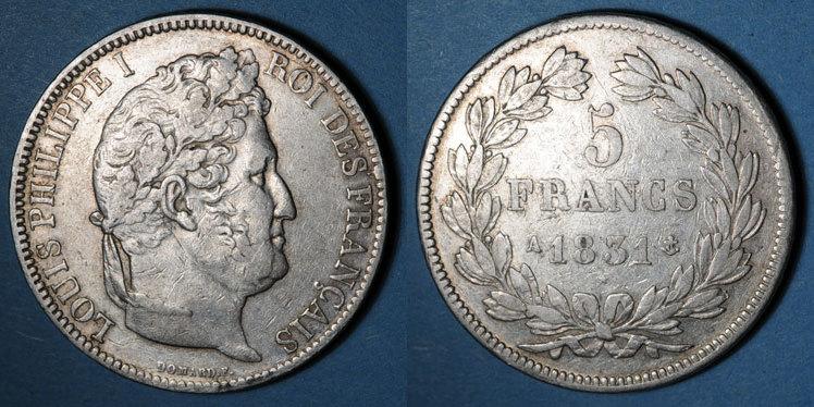 1831 A FRANZÖSISCHE MODERNE MÜNZEN Louis Philippe (1830-1848). 5 francs, tranche en relief, 1831A ss