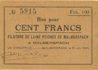 18.6.1940 FRENCH EMERGENCY NOTES Malmerspach (68). Filature de laine p... 20,00 EUR  +  7,00 EUR shipping