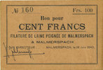 18.6.1940 FRENCH EMERGENCY NOTES Malmerspach (68). Filature de laine p... 60,00 EUR  +  7,00 EUR shipping