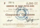 31.1.1915 FRENCH EMERGENCY NOTES Boiry-Notre-Dame (62). Commune. Bille... 19,00 EUR  +  7,00 EUR shipping