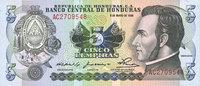 8.5.1980 OTHER FOREIGN NOTES Honduras. Billet. 5 lempiras 8.5.1980 I  10,00 EUR  +  7,00 EUR shipping
