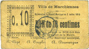 2.7.1915 FRENCH EMERGENCY NOTES Marchiennes (59). Ville. Billet. 10 ce... 17,00 EUR  +  7,00 EUR shipping