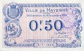 8.12.1917 FRANZÖSISCHE NOTSCHEINE Mayenne (53). Ville. Billet. 50 cent... 25,00 EUR  zzgl. 7,00 EUR Versand