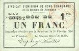 20.2.1916 FRANZÖSISCHE NOTSCHEINE Rimogne (08). Syndicat d'Emission. B... 8,00 EUR  zzgl. 7,00 EUR Versand