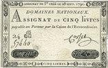 28 septembre 1791 ASSIGNATEN Assignat. 5 livres 28 septembre 1791, sig... 20,00 EUR  zzgl. 7,00 EUR Versand