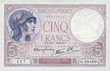 13.7.1939 BANKNOTEN DER BANQUE DE FRANCE Banque de France. Billet. 5 f... 15,00 EUR  zzgl. 7,00 EUR Versand